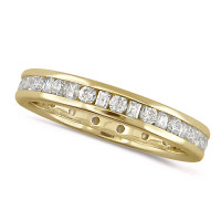 18ct Yellow Gold Ladies Channel Set Diamond Full Eternity Ring  Set With 0.75ct Of Round And Baguette Cut Diamonds