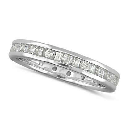 18ct White Gold Ladies Channel Set Diamond Full Eternity Ring  Set With 0.75ct Of Round And Baguette Cut Diamonds