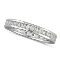 Platinum Ladies Channel Set Diamond Full Eternity Ring  Set With 0.75ct Of Round And Baguette Cut Diamonds
