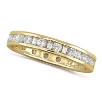 18ct Yellow Gold Ladies Channel Set Diamond Full Eternity Ring  Set With 1ct Of Round And Baguette Cut Diamonds