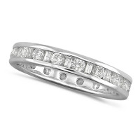 Platinum Ladies Channel Set Diamond Full Eternity Ring  Set With 1ct Of Round And Baguette Cut Diamonds