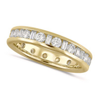 18ct Yellow Gold Ladies Channel Set Diamond Full Eternity Ring  Set With 1.50ct Of Round And Baguette Cut Diamonds