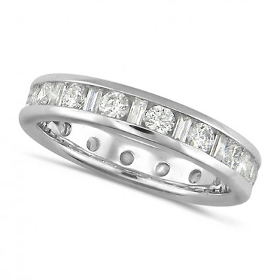 18ct White Gold Ladies Channel Set Diamond Full Eternity Ring  Set With 1.50ct Of Round And Baguette Cut Diamonds