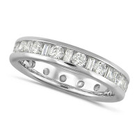 Platinum Ladies Channel Set Diamond Full Eternity Ring  Set With 1.50ct Of Round And Baguette Cut Diamonds