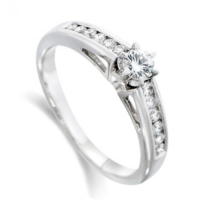 18ct White Gold Ladies Third of a Carat Brilliant Cut Diamond Engagement Ring with Solitaire Diamond and Channel Set Shoulders
