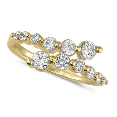 18ct Yellow Gold Ladies 12 Stone Graduated Three Quarter Carat  Diamond Crossover Ring