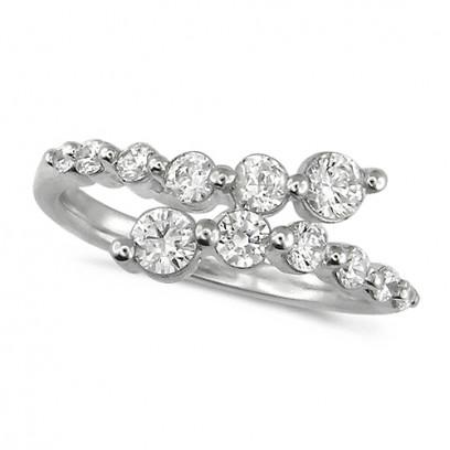 18ct White Gold Ladies 12 Stone Graduated Three Quarter Carat  Diamond Crossover Ring