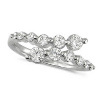 Platinum Ladies 12 Stone Graduated Three Quarter Carat  Diamond Crossover Ring