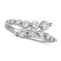 Platinum Ladies 12 Stone Graduated Three Quarter Carat  Diamond Crossover Ring