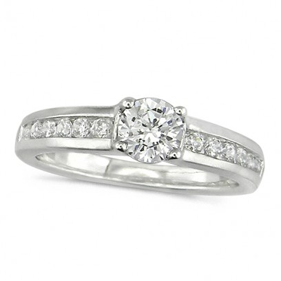 18ct White Gold Ladies Three Quarter Carat Brilliant Cut Diamond Engagement Ring with Solitaire Diamond and Channel Set Shoulders