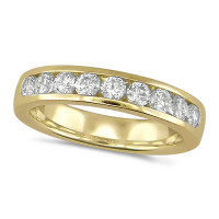 18ct Yellow Gold Ladies Classic Three Quarter Carat Diamond Channel Set Half Eternity Ring