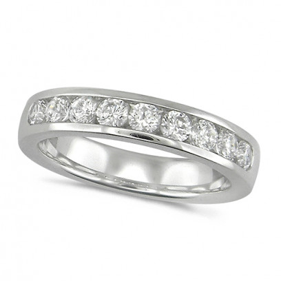 18ct White Gold Ladies Classic Three Quarter Carat Diamond Channel Set Half Eternity Ring