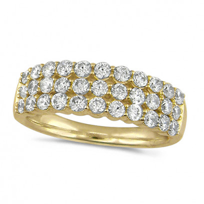18ct Yellow Gold Ladies 1ct Diamond 3 Row Dress Ring