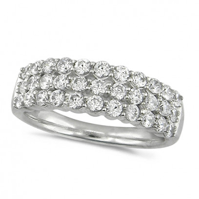 18ct White Gold Ladies 1ct Diamond 3 Row Dress Ring