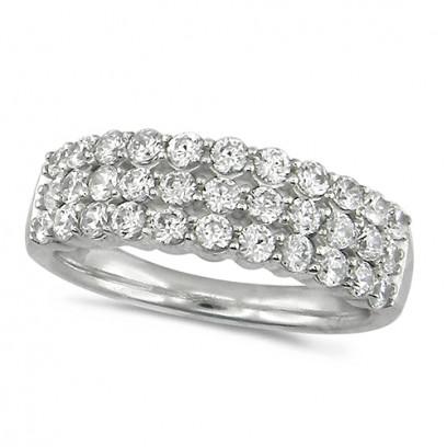 Platinum Ladies 1ct Diamond 3 Row Dress Ring