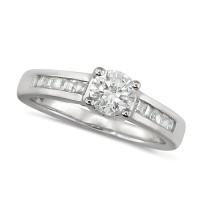 Platinum Ladies 0.75ct Diamond Engagement Ring with Solitaire Brilliant Cut Diamond and Channel Set Princess Cut Shoulders