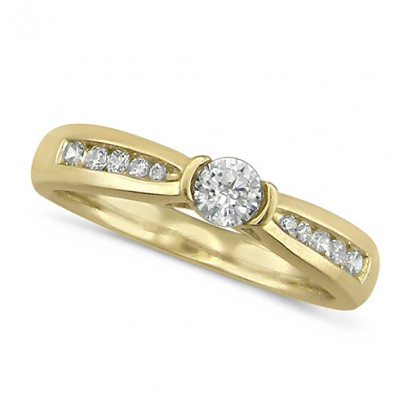 18ct Yellow Gold Ladies 0.33ct Diamond Engagement Ring Set With Round Solitaire  Diamond With Channel ...