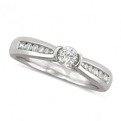 18ct White Gold Ladies 0.33ct Diamond Engagement Ring Set with Round Solitaire Diamond with Channel Set Shoulders