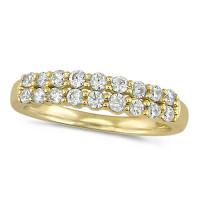 18ct Yellow Gold Ladies Claw Set 2 Row Half Eternity Ring Set With 0.50ct Of Diamonds