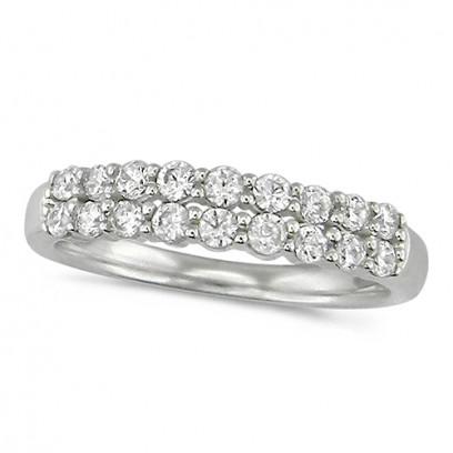 18ct White Gold Ladies Claw Set 2 Row Half Eternity Ring Set With 0.50ct Of Diamonds