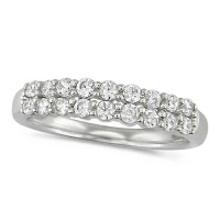 Platinum Ladies Claw Set 2 Row Half Eternity Ring Set With 0.50ct Of Diamonds