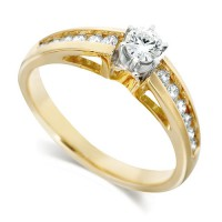 18ct Yellow Gold Ladies Half Carat Brilliant Cut Diamond Engagement Ring with Solitaire Diamond and Channel Set Shoulders