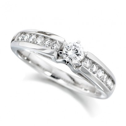 18ct White Gold Ladies Half Carat Brilliant Cut Diamond Engagement Ring with Solitaire Diamond and Channel Set Shoulders