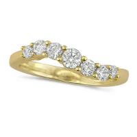 18ct Yellow Gold Ladies 7 stone S-Shape Diamond Half Eternity Ring Set with 0.50ct of Brilliant Cut Diamonds