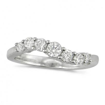 18ct White Gold Ladies 7 stone S-Shape Diamond Half Eternity Ring Set with 0.50ct of Brilliant Cut Diamonds