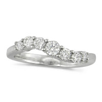 Platinum Ladies 7 stone S-Shape Diamond Half Eternity Ring Set with 0.50ct of Brilliant Cut Diamonds
