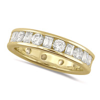 18ct Yellow Gold Ladies Channel Set Diamond Full Eternity Ring  Set With 2.00ct Of Round And Baguette Cut Diamonds