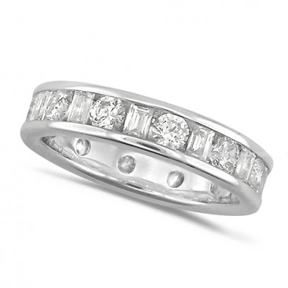 18ct White Gold Ladies Channel Set Diamond Full Eternity Ring  Set With 2.00ct Of Round And Baguette Cut Diamonds