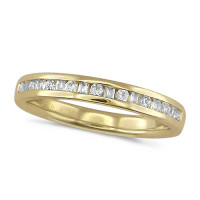 18ct Yellow Gold Ladies Half Eternity Ring  Set With 0.25ct Of Round And Baguette Cut Diamonds