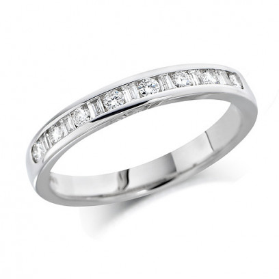 18ct White Gold Ladies Half Eternity Ring  Set With 0.25ct Of Round And Baguette Cut Diamonds