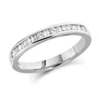Platinum Ladies Half Eternity Ring  Set With 0.25ct Of Round And Baguette Cut Diamonds