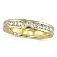 18ct Yellow Gold Ladies Half Eternity Ring  Set With 0.50ct Of Round And Baguette Cut Diamonds