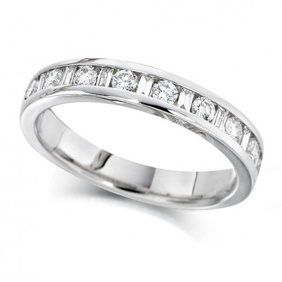 18ct White Gold Ladies Half Eternity Ring  Set With 0.50ct Of Round And Baguette Cut Diamonds