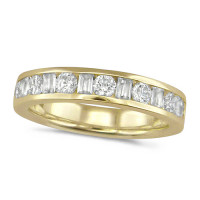 18ct Yellow Gold Ladies Half Eternity Ring  Set With 0.75ct Of Round And Baguette Cut Diamonds