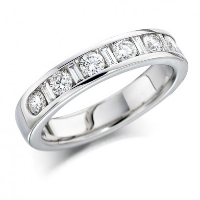 18ct White Gold Ladies Half Eternity Ring  Set With 0.75ct Of Round And Baguette Cut Diamonds