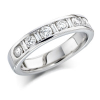 Platinum Ladies Half Eternity Ring  Set With 0.75ct Of Round And Baguette Cut Diamonds