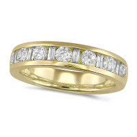 18ct Yellow Gold Ladies Half Eternity Ring  Set With 1ct Of Round And Baguette Cut Diamonds