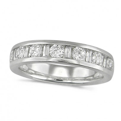18ct White Gold Ladies Half Eternity Ring  Set With 1ct Of Round And Baguette Cut Diamonds