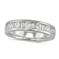 Platinum Ladies Half Eternity Ring  Set With 1ct Of Round And Baguette Cut Diamonds