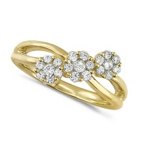 18ct Yellow Gold Ladies Half Carat Triple Cluster Diamond Ring