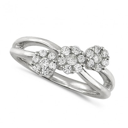 18ct White Gold Ladies Half Carat Triple Cluster Diamond Ring
