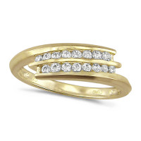 18ct Yellow Gold Ladies 2 Row Channel Set Quarter Carat Diamond Crossover Ring