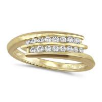 18ct Yellow Gold Ladies 2 Row Channel Set Quarter Carat Diamond Crossover Ring