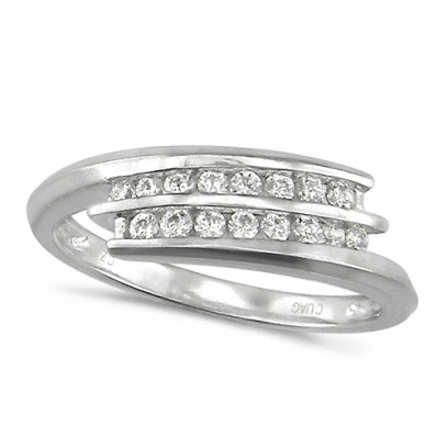 18ct White Gold Ladies 2 Row Channel Set Quarter Carat Diamond Crossover Ring