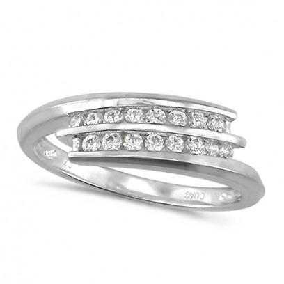 18ct White Gold Ladies 2 Row Channel Set Quarter Carat Diamond Crossover Ring