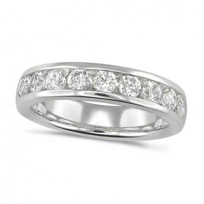 18ct White Gold Ladies Classic 1ct Diamond Channel Set Half Eternity Ring